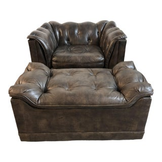 Mid-20th Century Schafer Bros Tufted Leather Chair + Ottoman For Sale