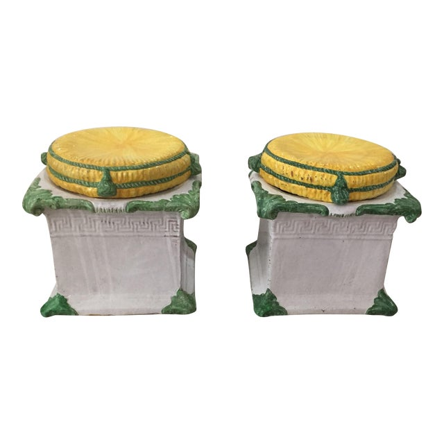 1920s Italian Glazed Terra Cotta Loggia Garden Stools Greek Key Removable Tops - a Pair For Sale