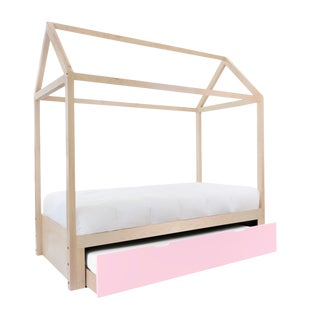 Domo Zen Full Trundle Canopy Bed in Maple With Pink Finish For Sale