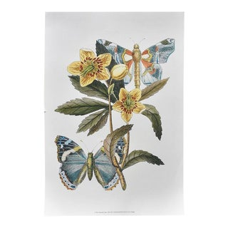 Botanical Floral Motif and Butterfly Print in Green Yellow and Blue For Sale