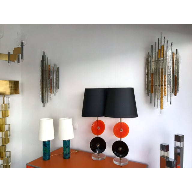 1970s Pair of Sconces Hammered Glass Iron by Biancardi and Jordan Arte, Italy, 1970s For Sale - Image 5 of 12