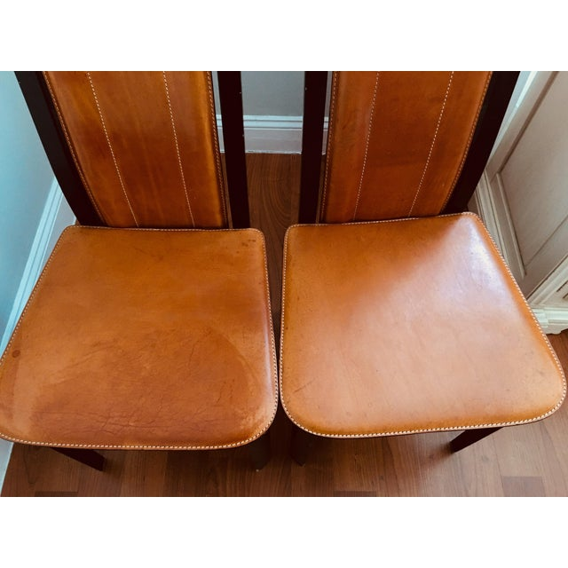 Animal Skin Art Deco Inspired Roche Bubois Leather and Lacquer Dining Chairs - a Pair For Sale - Image 7 of 11