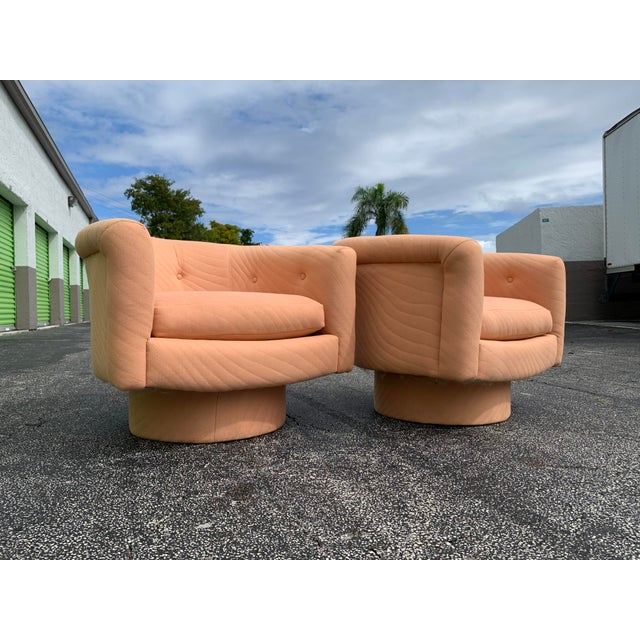 Milo Baughman 1970s Milo Baughman Style Tufted Swivel Lounge Chairs - a Pair For Sale - Image 4 of 13