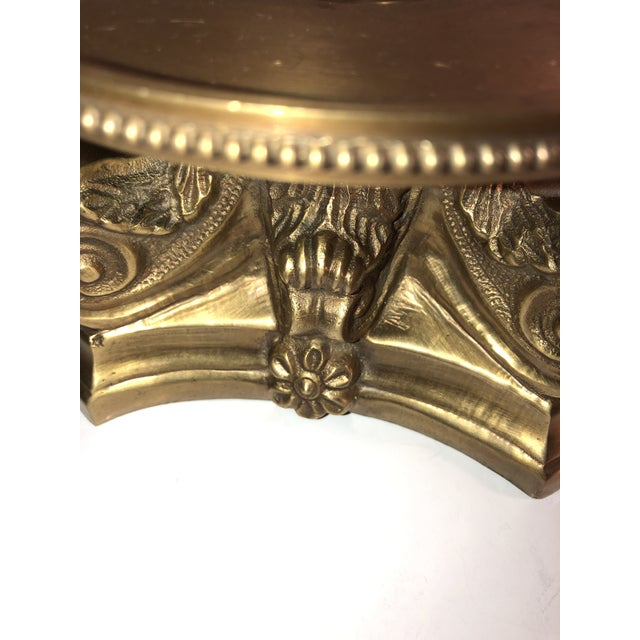 Art Nouveau 1950s Hollywood Regency Solid Brass Hurricane Candle Holder For Sale - Image 3 of 7