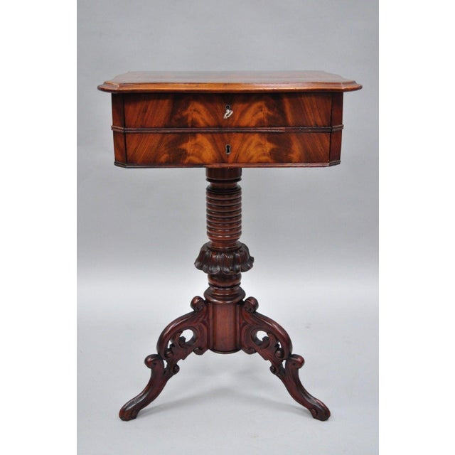 Antique Victorian Sewing Stand Side Table For Sale - Image 11 of 12