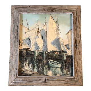 Original Vintage Sail Boats in Harbor Seascape Painting For Sale