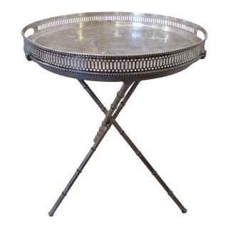 Vintage Iron & Silvered Tray Drink Table For Sale