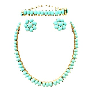 Trifari Mid-Century Gold Faux Turquoise Necklace Earrings & Bracelet - Set of 4 For Sale