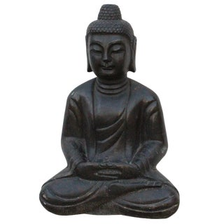 Chinese Oriental Stone Sitting Buddha Amitabha Shakyamuni Statue For Sale
