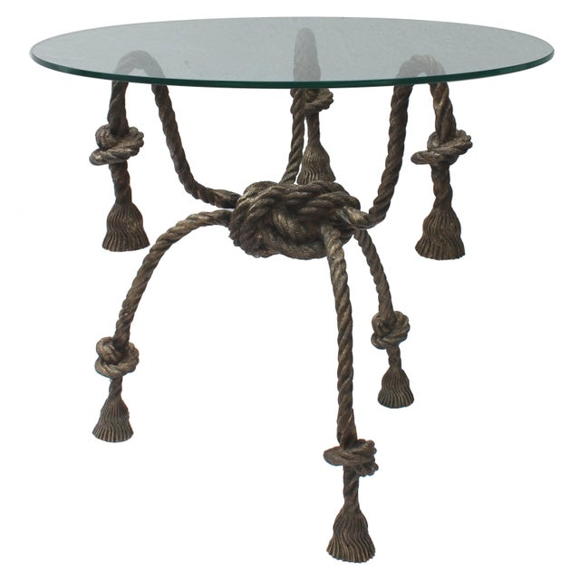 Maison Jansen Style Solid Brass Rope Table For Sale - Image 10 of 10