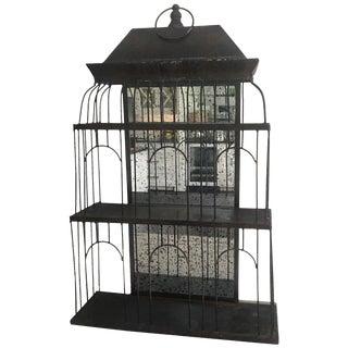 20th Century Boho Chic Metal Bird House Mirrored Wall Shelf