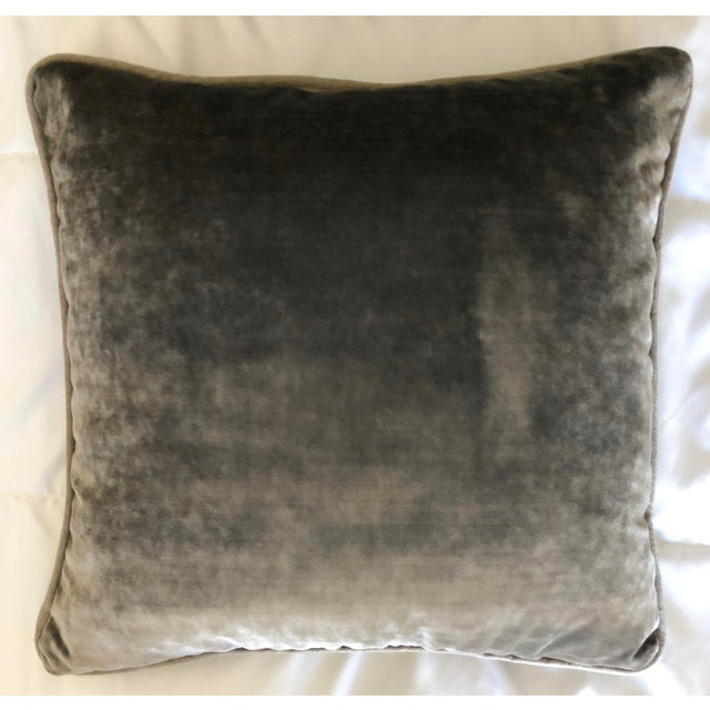 Grey Velvet Pillows Re-Designed With Antique Silver Wire Embroidery- a Pair For Sale - Image 11 of 13