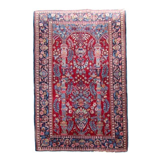 1920s Handmade Antique Persian Kashan Rug- 4′6″ × 6′7″ For Sale
