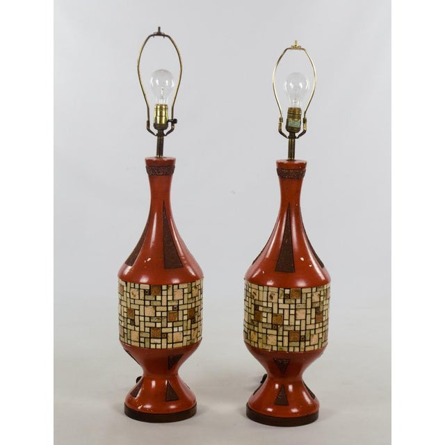 Complete your Mid-Century Modern space with these fantastic Mid-Century ceramic and tile Westwood table lamps. The burnt...