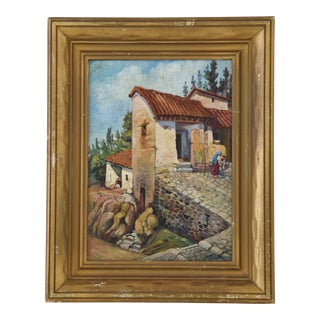 Early 1900s Italian Mediterranean Village Oil Painting