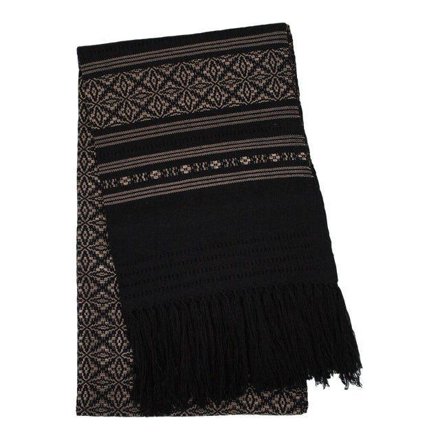 Oaxaca Handwoven Black Copper Tassel Table Runner - Image 1 of 3