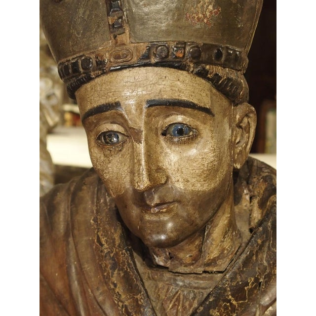 Large Antique Polychromed Wood Statue of a Bishop, Circa 1650 For Sale - Image 4 of 12