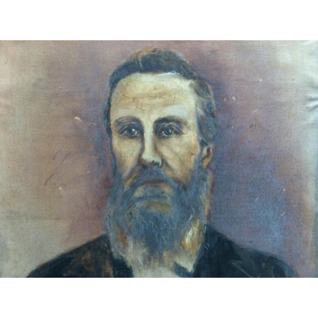 "1920s Vintage ""Bearded Man"" Original Painting on Canvas For Sale - Image 4 of 6"
