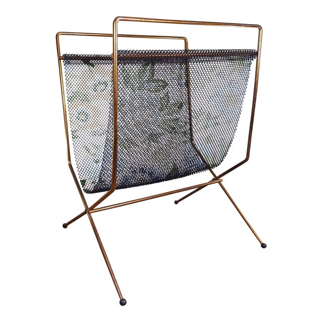Mid-Century Modernist Mesh Log Holder or Magazine Rack For Sale