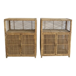 1970s Boho Chic Rattan Cabinets - a Pair For Sale