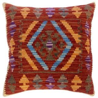 "Christia Rust/Gold Hand-Woven Kilim Throw Pillow(18""x18"") For Sale"