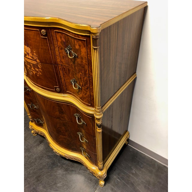 1950s Vintage French Provincial Louis XV Style Inlaid Mahogany Chest on Chest For Sale - Image 5 of 13