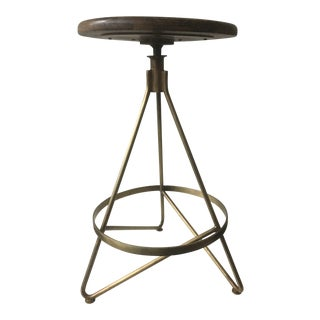 Vintage Brass & Wood Bar Stools - a Pair For Sale