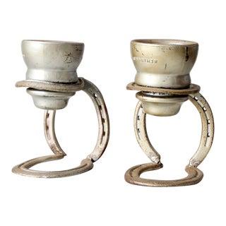 Vintage Folk Art Candle Holders - Set of 2