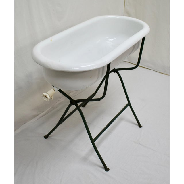 Vintage Porcelain Enamel Baby Bath on Folding Wrought Iron Stand For Sale - Image 4 of 13