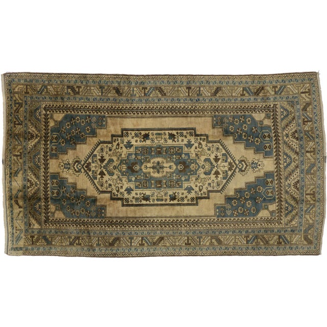 Mid 20th Century Vintage Turkish Oushak Rug with Tribal Elements - 05'10 X 10'02 For Sale - Image 5 of 6