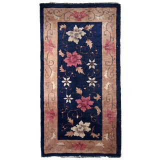 1920s Handmade Antique Art Deco Chinese Rug 2' X 4.1' For Sale