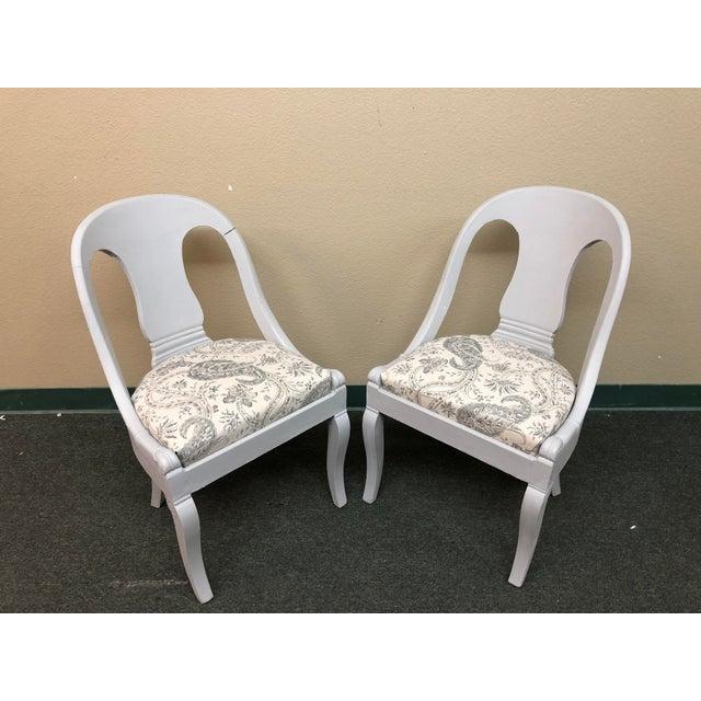 Art Deco Vintage Chalk Paint Chairs - a Pair For Sale - Image 3 of 13