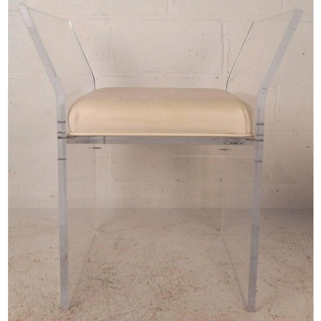 Mid-Century Modern Vinyl and Lucite Bench For Sale - Image 4 of 6