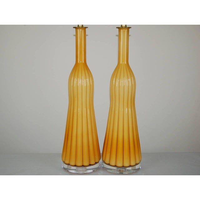 Vintage Murano Glass Pleated Table Lamps in Butterscotch For Sale In Little Rock - Image 6 of 10