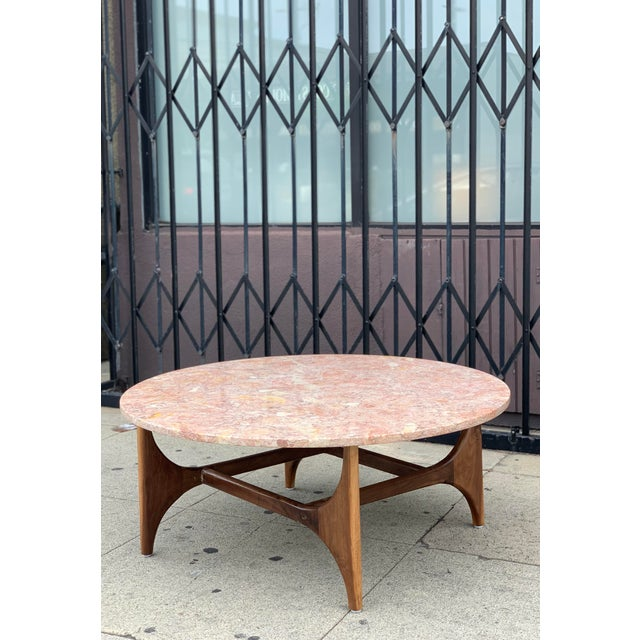 Rose Marble Top With Walnut Base Coffee Table For Sale - Image 12 of 13