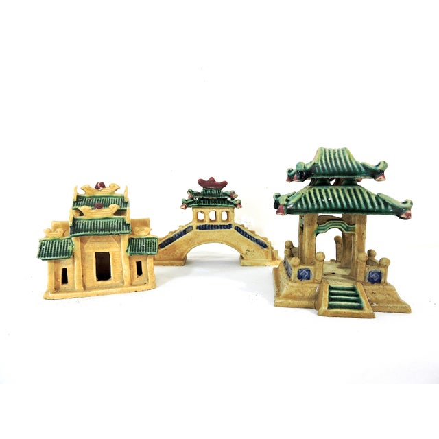 Vintage Ceramic Chinese Planter / Garden Ornaments - Bridge, Temple and Pavilion - Set of 3 For Sale In Tampa - Image 6 of 6