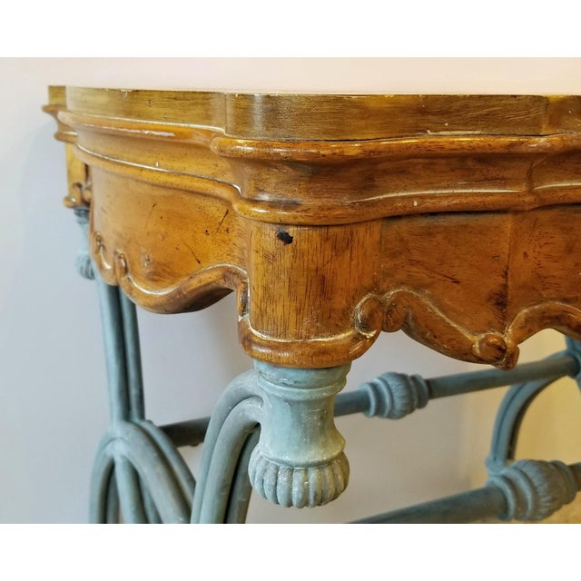 1990s 1990s Italian Burl Wood & Iron Side Table For Sale - Image 5 of 7