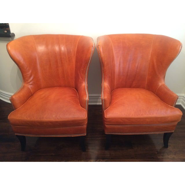 Williams Sonoma Chelsea Leather Wing Chairs - Pair For Sale - Image 5 of 6
