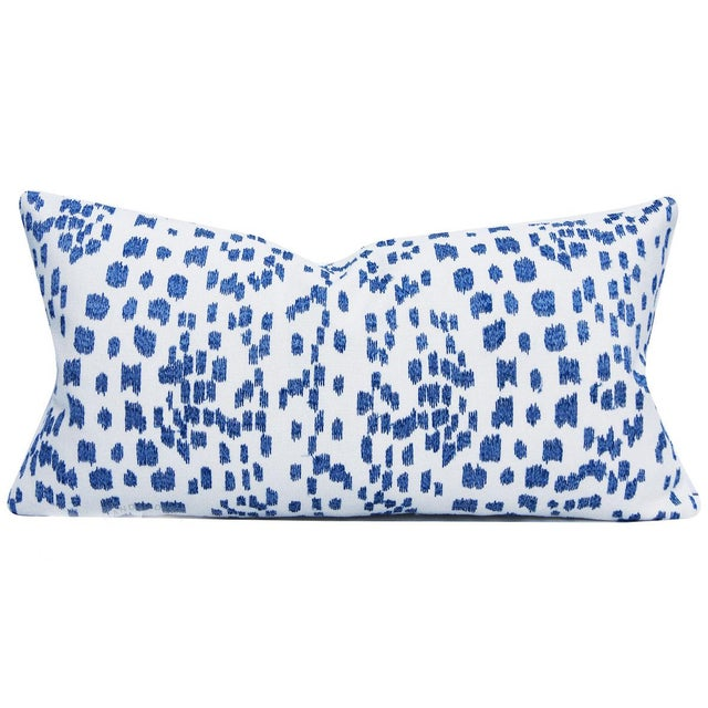 Linen Brunschwig & Fils Les Touches Embroidered Canton Blue Lumbar Pillow Cover For Sale - Image 7 of 7