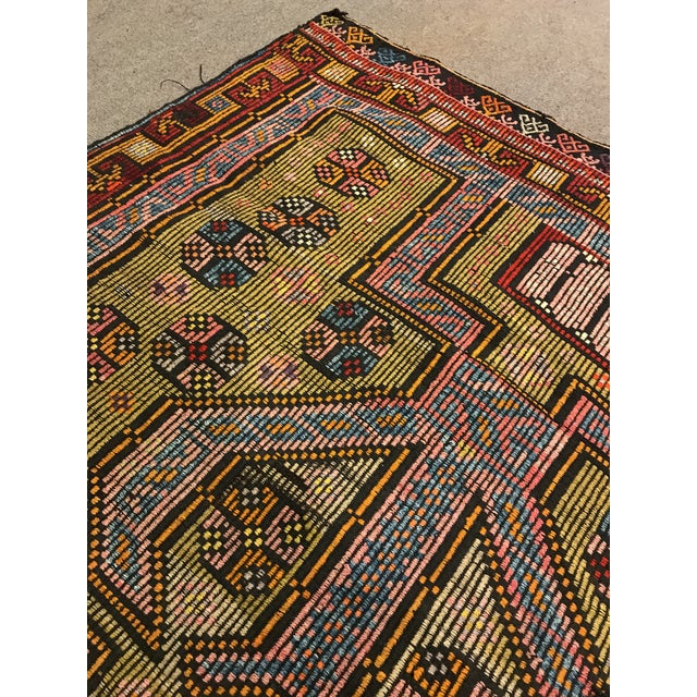 1900s TurkishVintag Colorful Tribal Wool Kilim Rug For Sale - Image 11 of 13