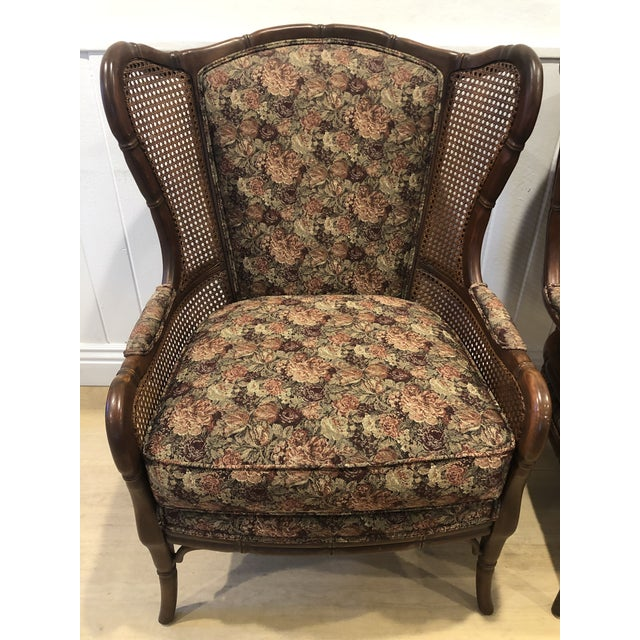 Caning 1990s Vintage Ethan Allen Faux Bamboo Rattan Cane Wingback Arm Chairs- A Pair For Sale - Image 7 of 12