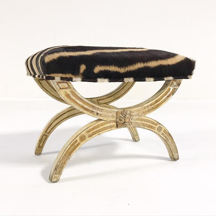 19th Century Italian Regency Stool Ottoman Bench Reupholstered In Zebra  Hide   Image 8 Of 9