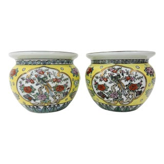 Vintage Asian Famille Jeune Yellow Ceramic Planters - a Pair (Japanese) For Sale