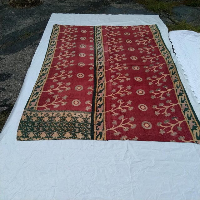 Shabby Chic Vintage Indian Reversible Sari Quilt For Sale - Image 3 of 6