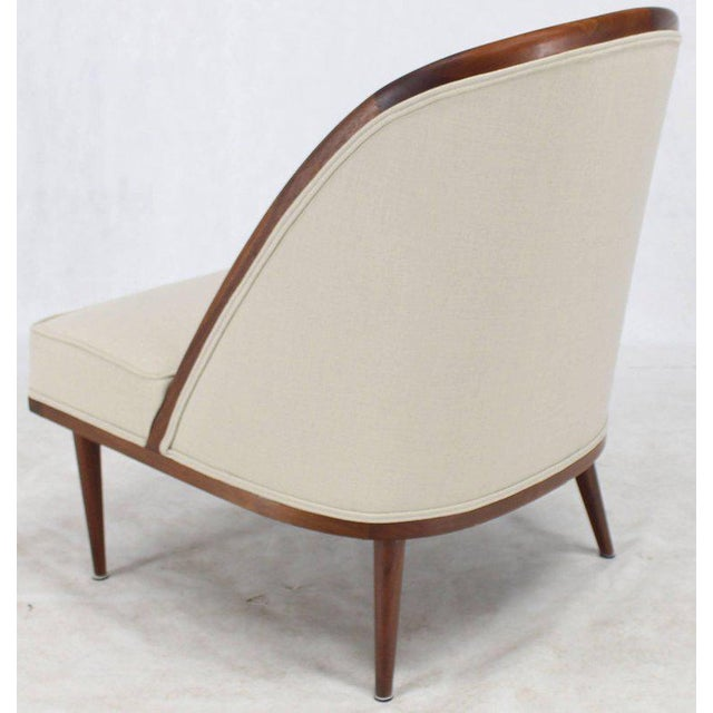 Mid-Century Modern Oiled Walnut Frame Barrel Back Lounge Chairs For Sale - Image 9 of 10