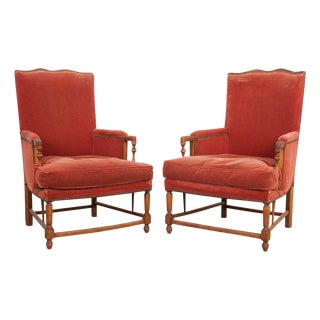 19th Century French Provincial Walnut Fauteuils - a Pair For Sale