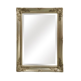 Maissance Champagne Gold Solid Wood Wall Mirror For Sale