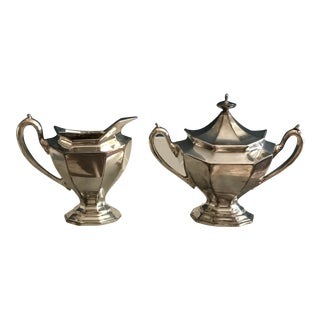 Antique Reed and Barton Silver Plate Covered Sugar Bowl and Matching Creamer - Set of 3 For Sale