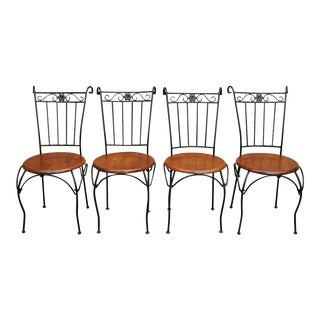 Vintage Scrolling Wrought Iron Round Wooden Seat Bistro Dining Side Chairs- Set of 4 For Sale
