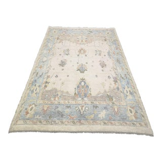 Turkish Contemporary Hand-Knotted Oushak Area Rug For Sale